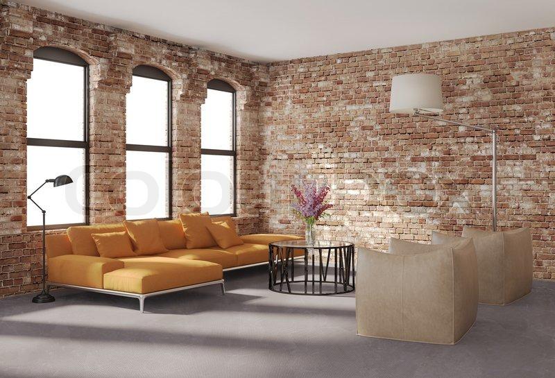 Moderne stilvolle Loft Interieur, Backstein Wände, orange sofa, Stock ...