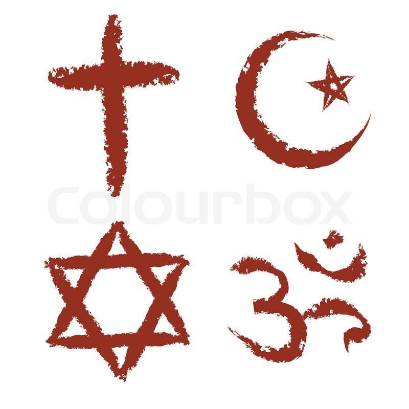 Christian, islam, judaism and hinduism religions painted signs vector set, vector