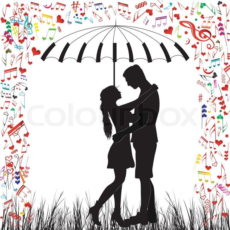 Paar Herzen Regen geküsst. Mann und | Stock-Vektor