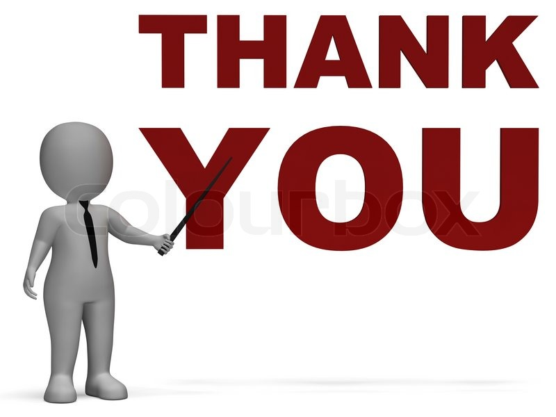 thank you notice shows thanks stock photo colourbox