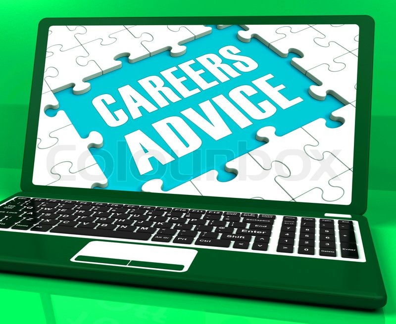 Careers Advice Laptop Showing Employment Guidance And Assistance, stock photo