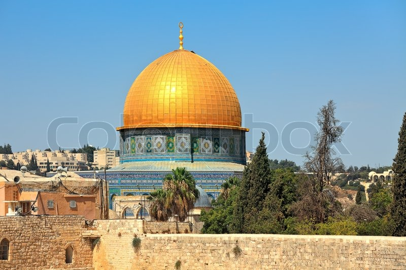 view of golden dome of famous dome of the rock mosque in