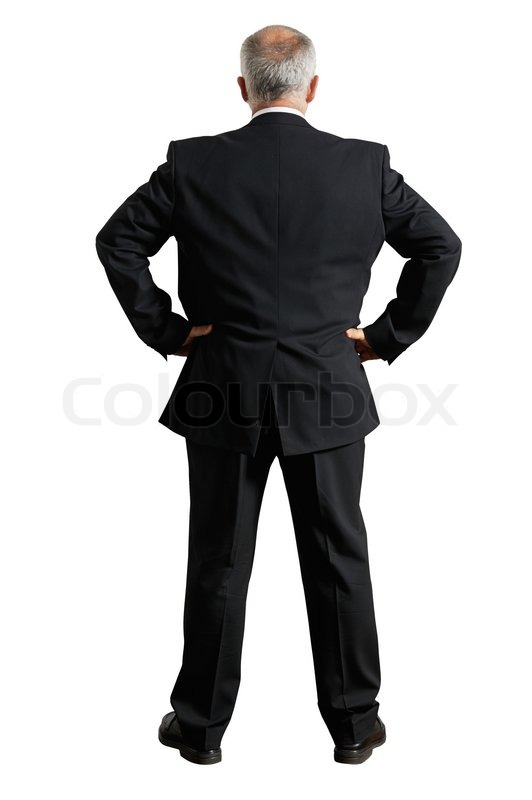 Back view of grey-haired businessman | Stock Photo | Colourbox