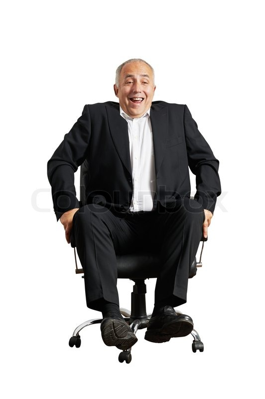 Laughing Man Sitting On Office Chair
