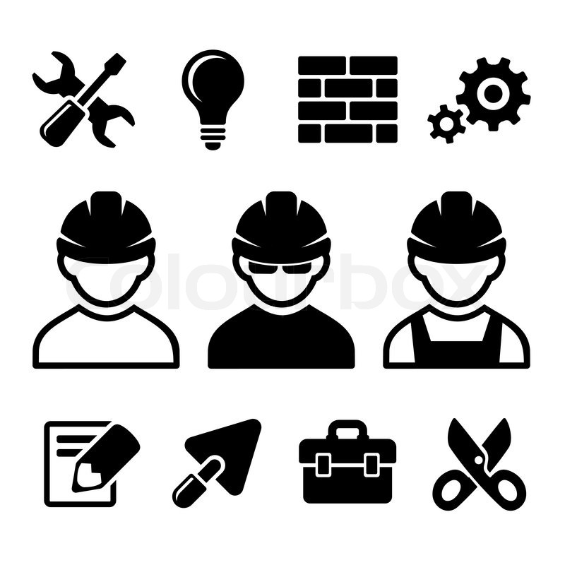 1168669060fc6 Industrial worker and tools icons set. ...