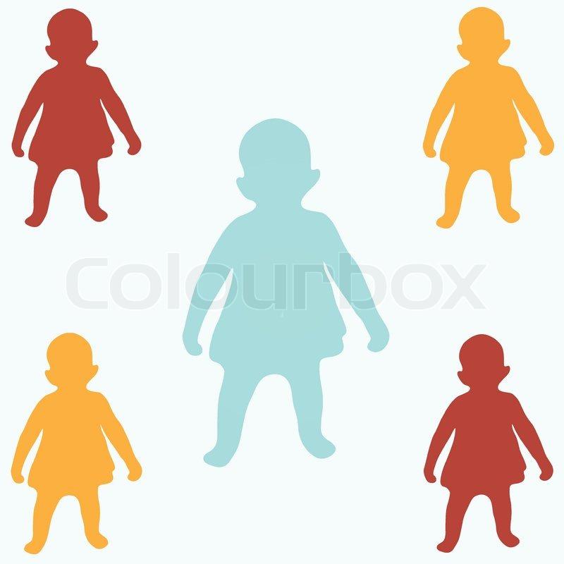 Farbige Kinder Silhouetten | Vektorgrafik | Colourbox