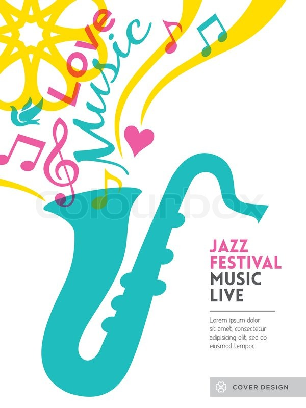 Music Book Cover Template : Jazz music festival graphic design stock vector
