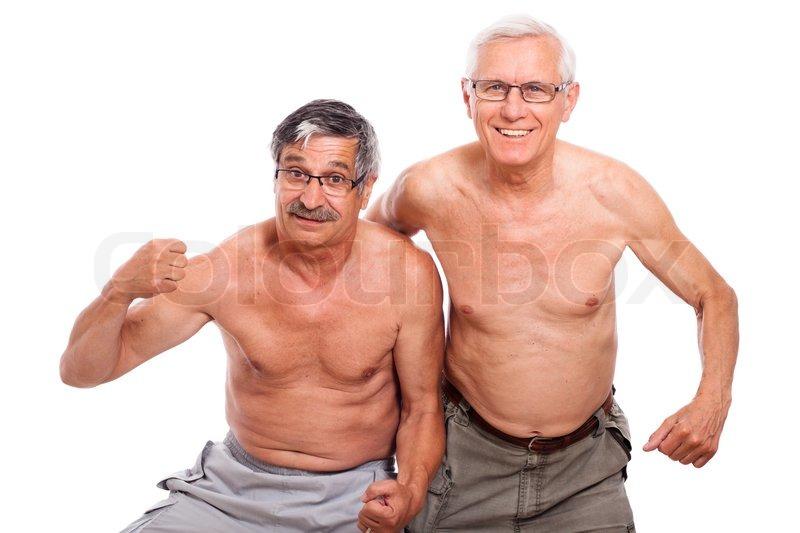 Two happy naked senior men showing body, isolated on white