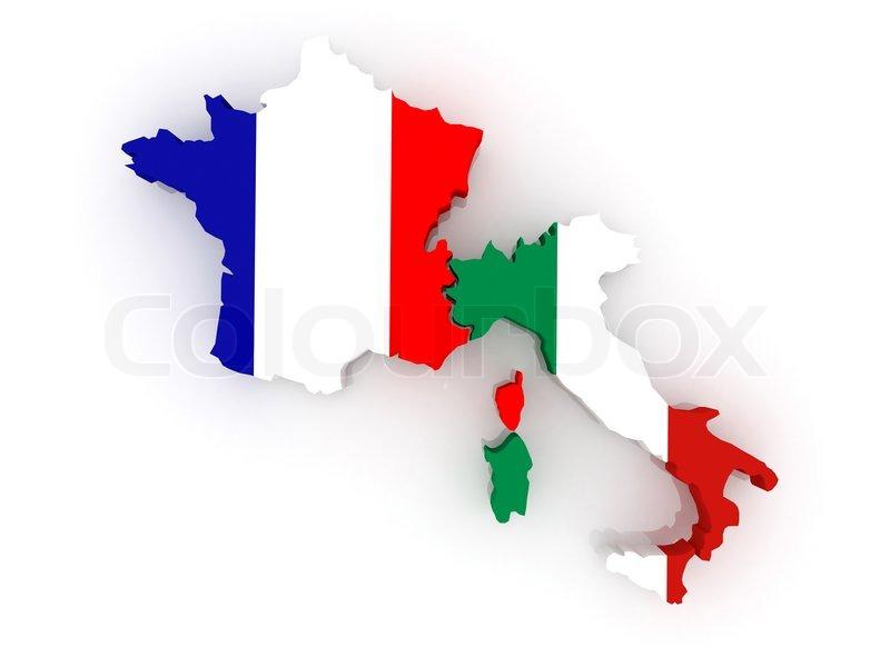 Kort Over Frankrig Og Italien Stock Foto Colourbox