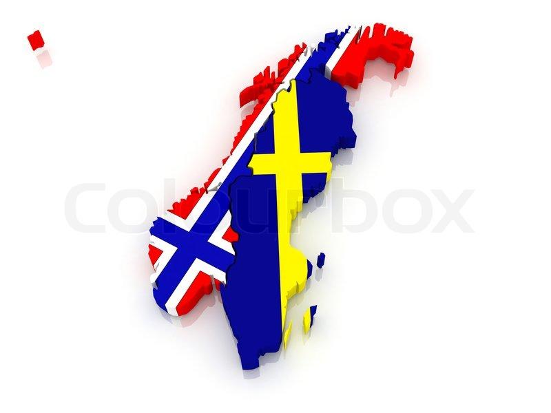 Kort Over Sverige Og Norge Stock Foto Colourbox