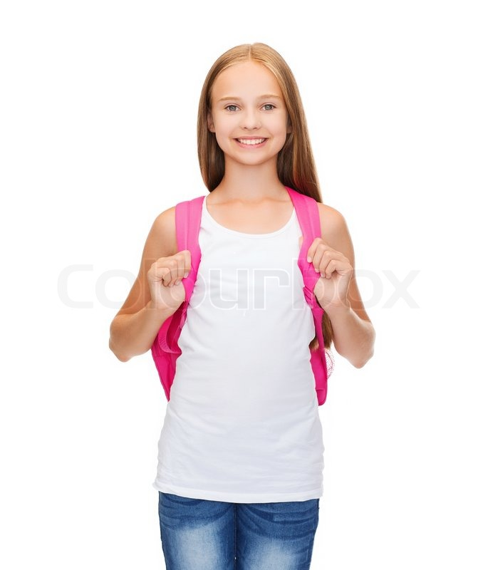 Smiling teenage girl in blank white tank top stock photo colourbox - Teen age girl picthar ...