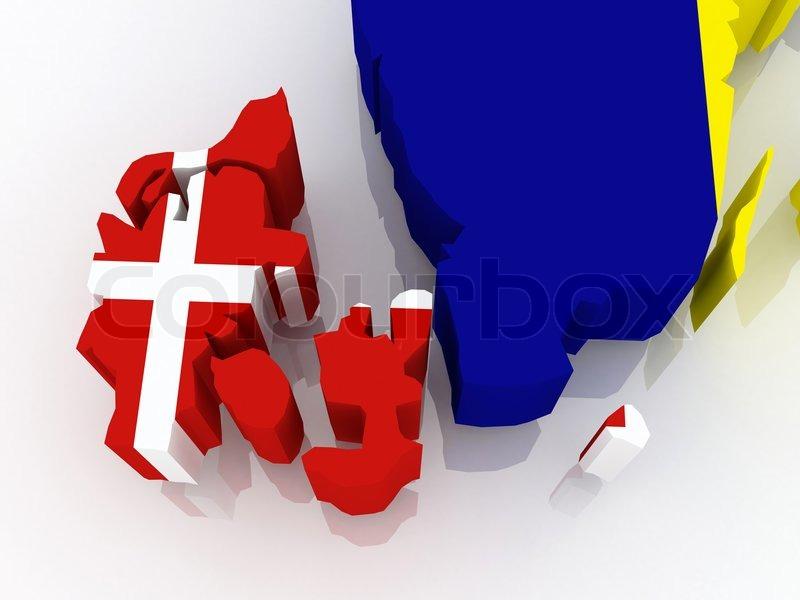 Kort Over Danmark Og Sverige Stock Foto Colourbox
