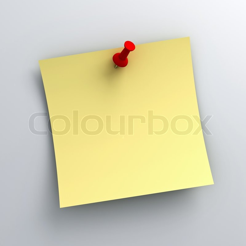 Gelbe notizzettel papier mit rote rei zwecke auf wei em for Gelbe tafel