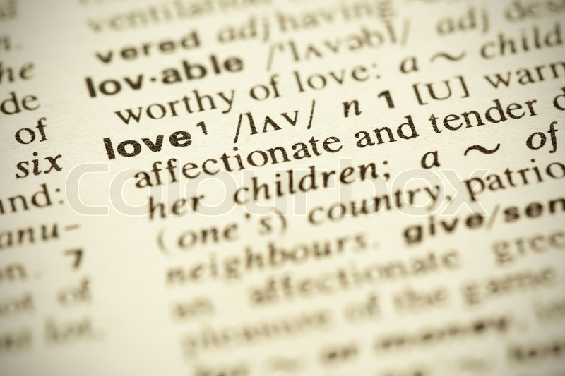 Dictionary Definition Of The Word Love In English Stock Photo