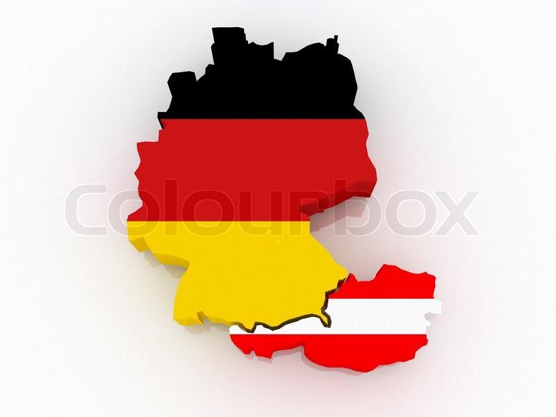 Kort Over Tyskland Og Ostrig Stock Foto Colourbox