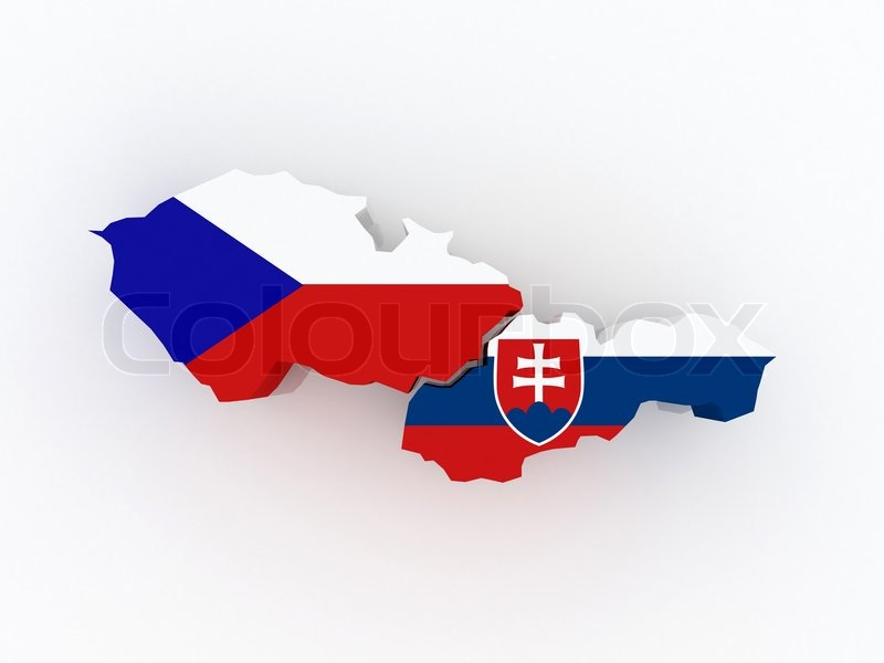 Kort Over Tjekkiet Og Slovakiet Stock Foto Colourbox