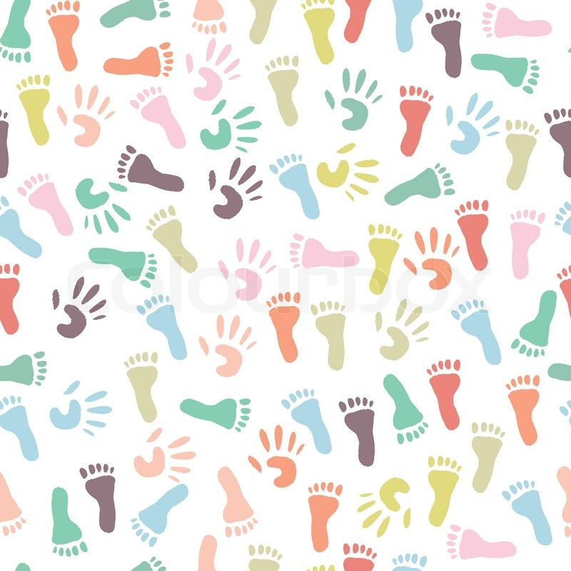 Baby Colorful Handprint And Footprint Seamless Pattern On