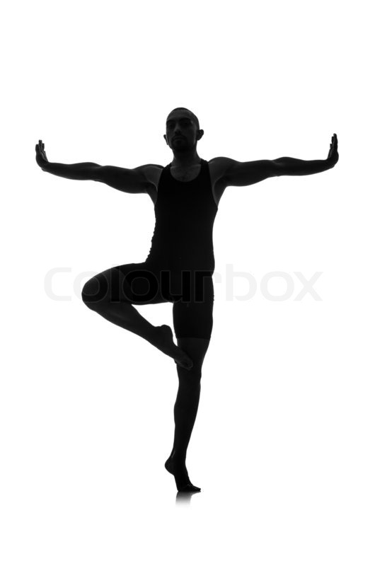 Silhouette of male dancer isolated on white | Stock Photo ...