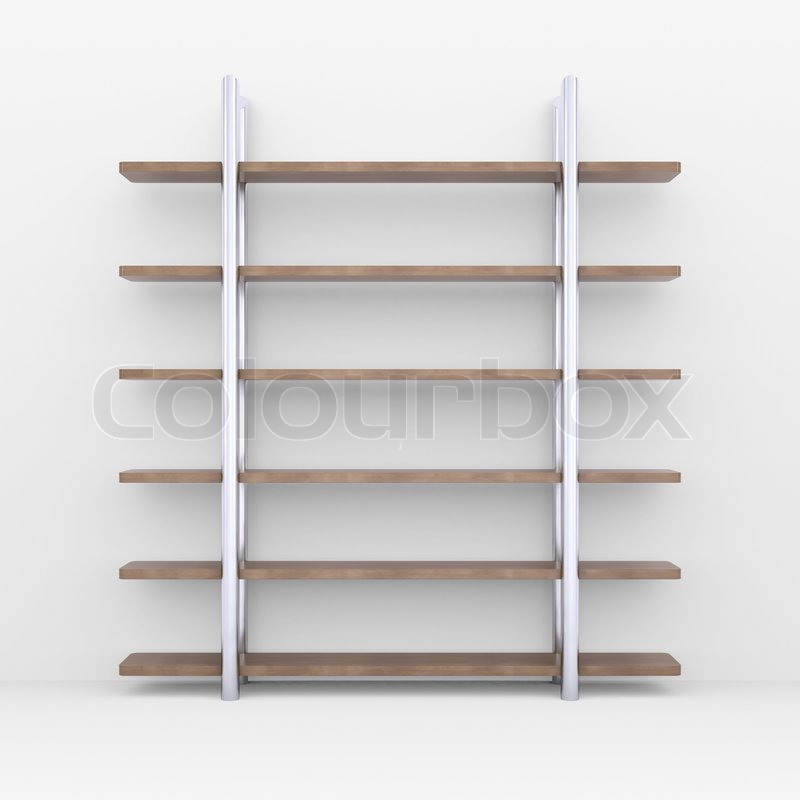 White Wood Shelves : ... Wooden shelves with metal stands. 3d rendering on white background