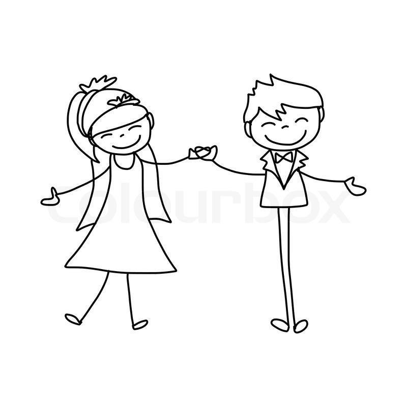 Hand drawing cartoon character happy lovers wedding | Vector | Colourbox