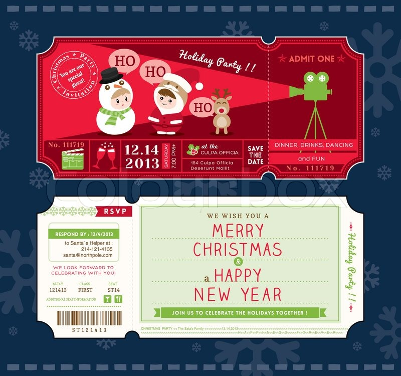Christmas Party Ticket Template Free