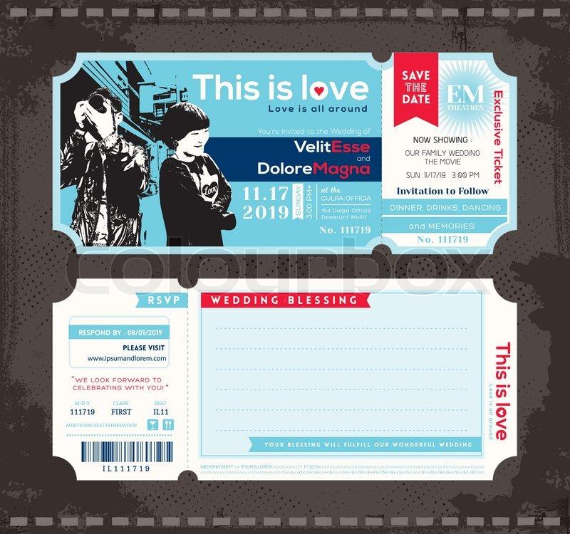 Ticket -Hochzeits-Einladung Design Template  Stock-Vektor  Colourbox