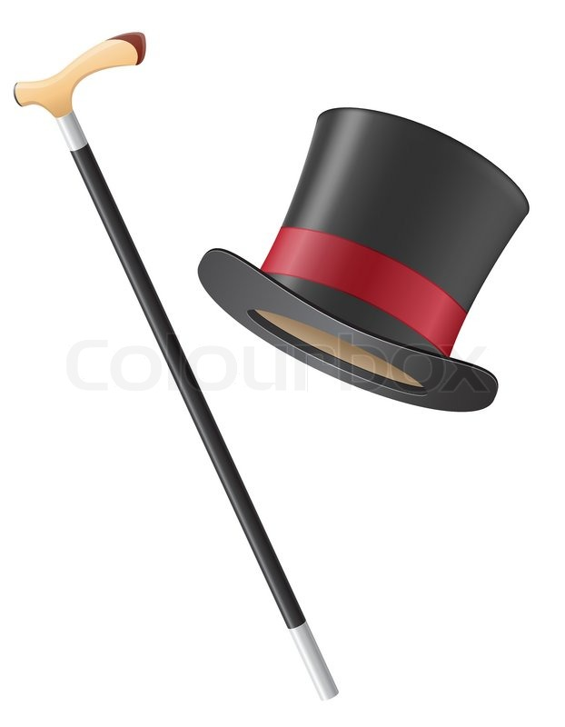 Cylinder Hat And Walking Stick Vector Illustration Stock Vector