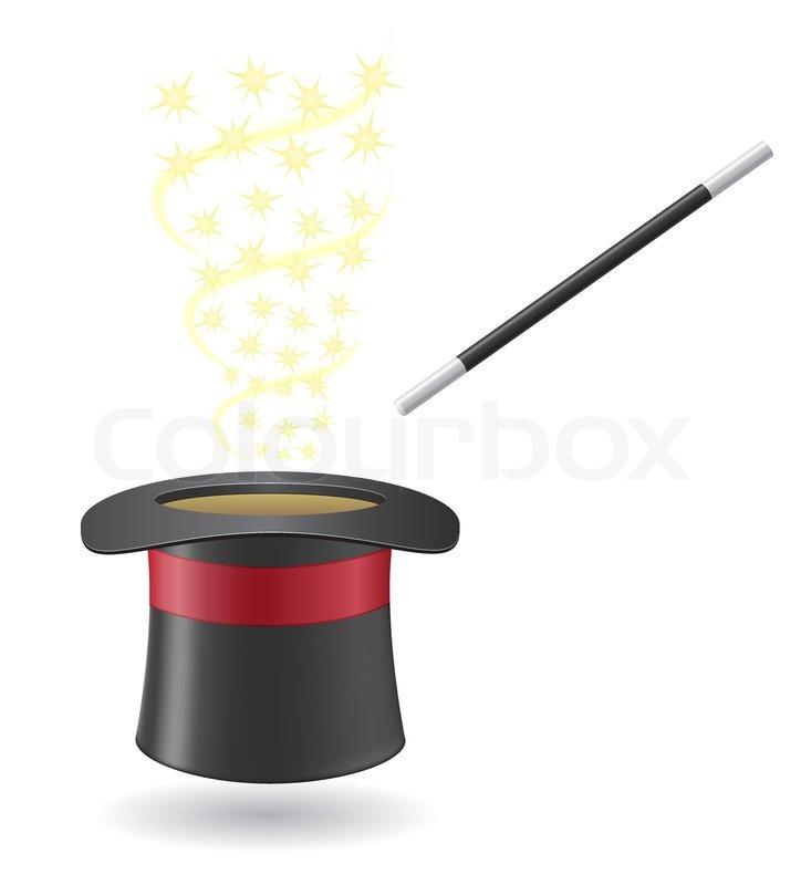 Zauberstab Und Zylinder Hut Vektorgrafik Colourbox