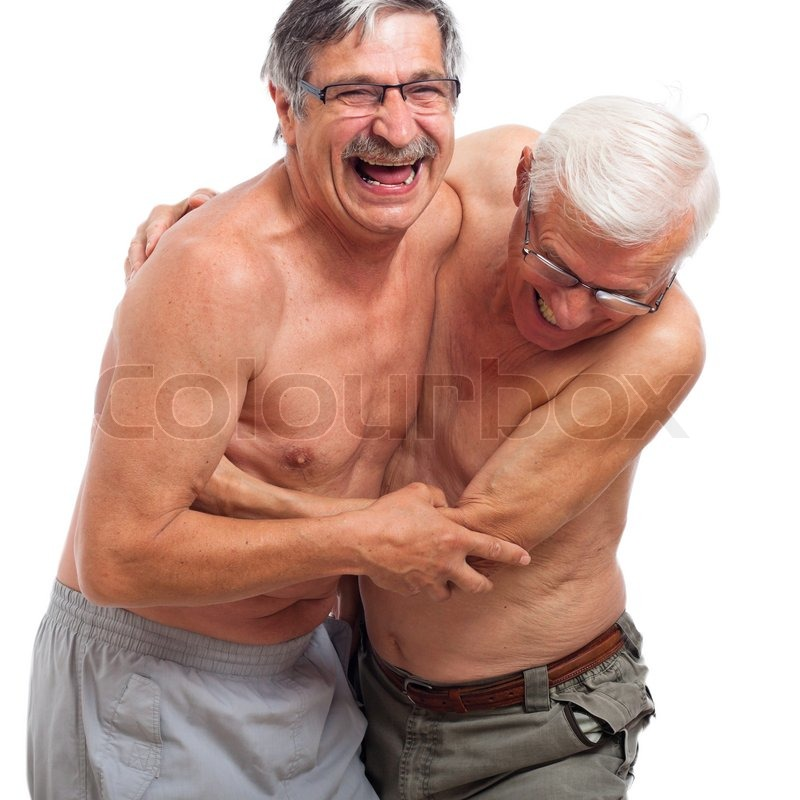 Two naked seniors laughing and fighting for fun, isolated
