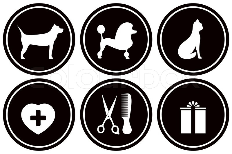 Set black icons for pet objects | Stock Vector | Colourbox