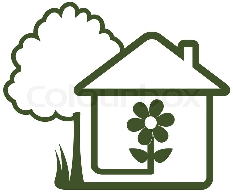 Isolated sign with landscaping symbol tree house Homes and gardens logo