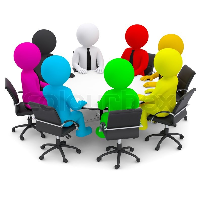 Round table discussion - Multicolored People Sitting At A Round Table Isolated Render On A