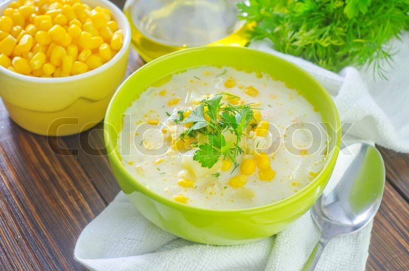Corn soup, stock photo