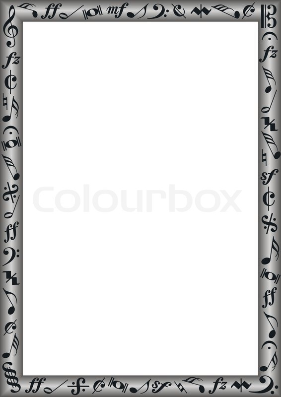 white background with grey gradient border and black music Guitar Vector White Music Note Vector