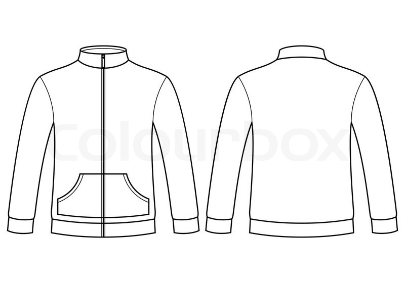 Line Drawing Jacket : Blank sweatshirt template isolated on white background