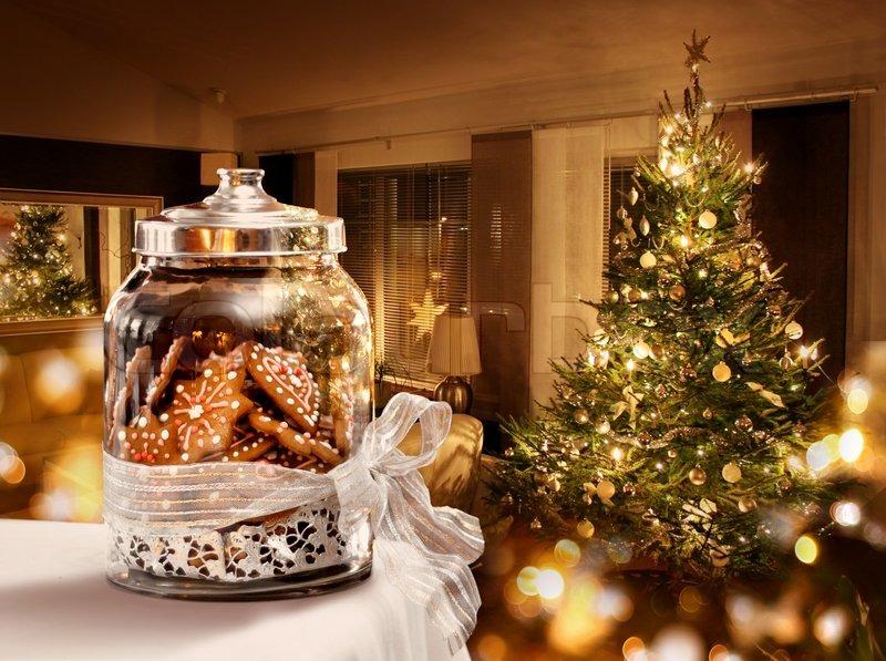 Gingerbread cookies jar Christmas tree room background, stock photo