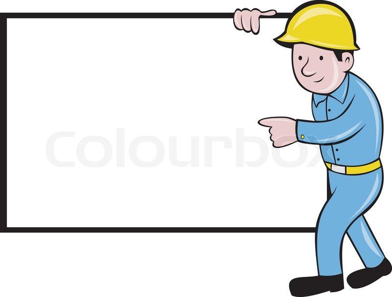 Bauarbeiter clipart schwarz weiß  Bauarbeiter mit weißen Brett zeigen | Vektorgrafik | Colourbox