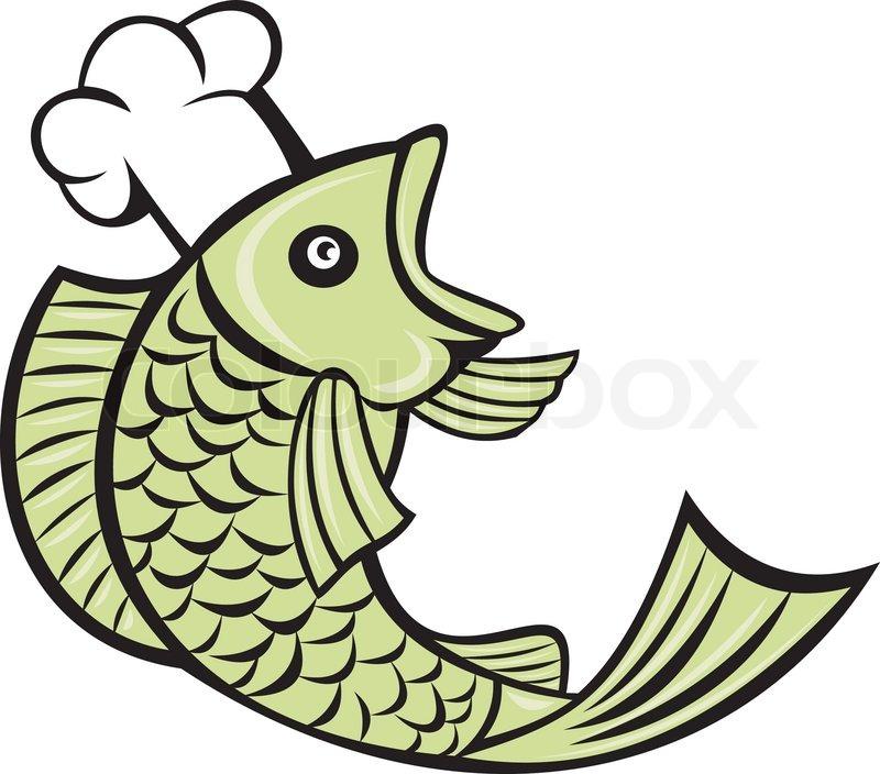 Fisch Kochen Chef baker   Vektorgrafik   Colourbox