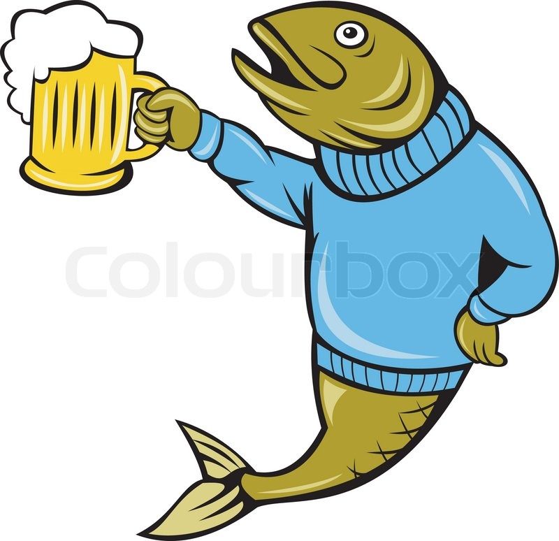 Trout Drinking A Beer