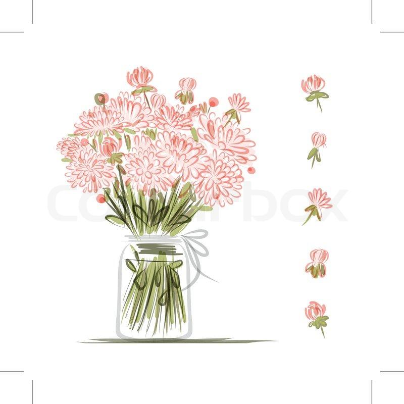 Berühmt Vase mit rosa Blumen , Skizze für Ihr Design | Vektorgrafik @AZ_56