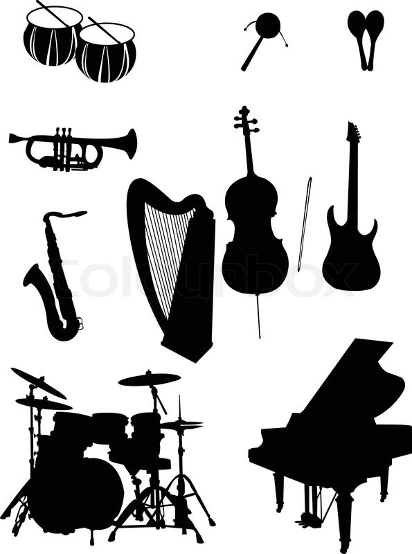 Musical Instrument Silhouettes Vector Stock Vector