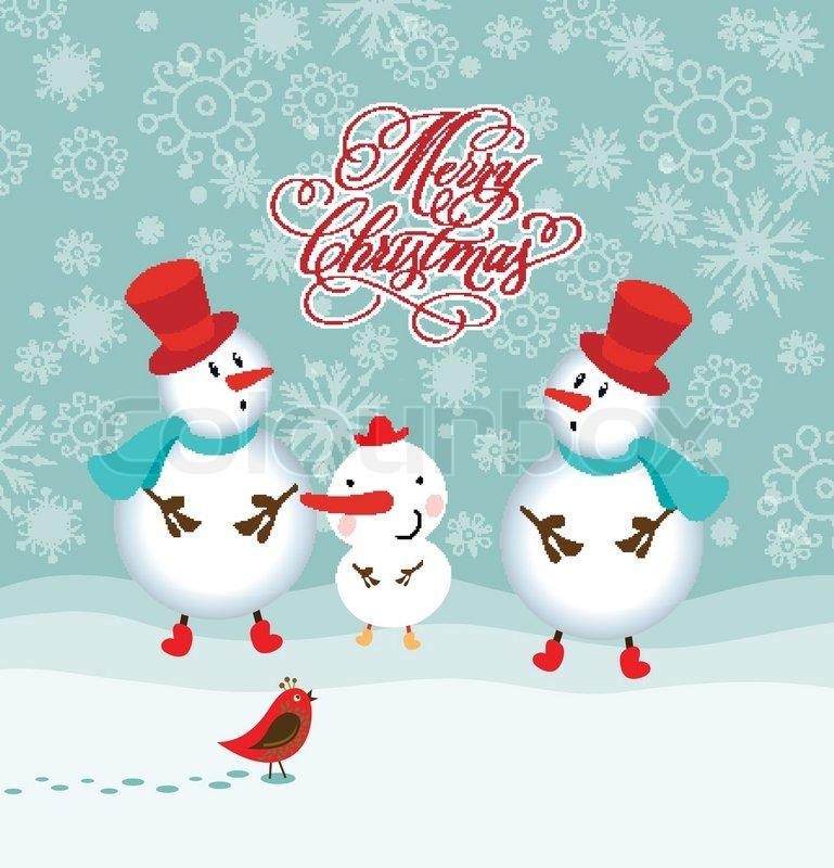 Glücklich lustige Familie von drei Schneemänner Grusskarte ...