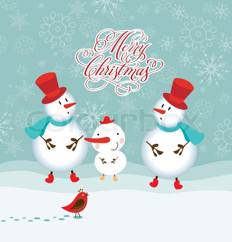 Happy funny family of three snowmen greeting christmas card merry happy funny family of three snowmen greeting christmas card merry christmas lettering stock photo colourbox m4hsunfo