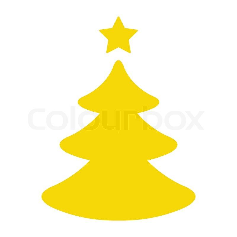 einfacher gelb weihnachtsbaum vektorgrafik colourbox