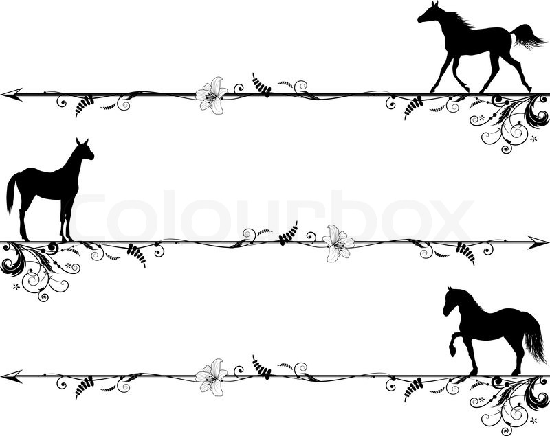 set of vector vignettes with horses in black and white colors rh colourbox com free horseshoe border clip art Horseshoe Border
