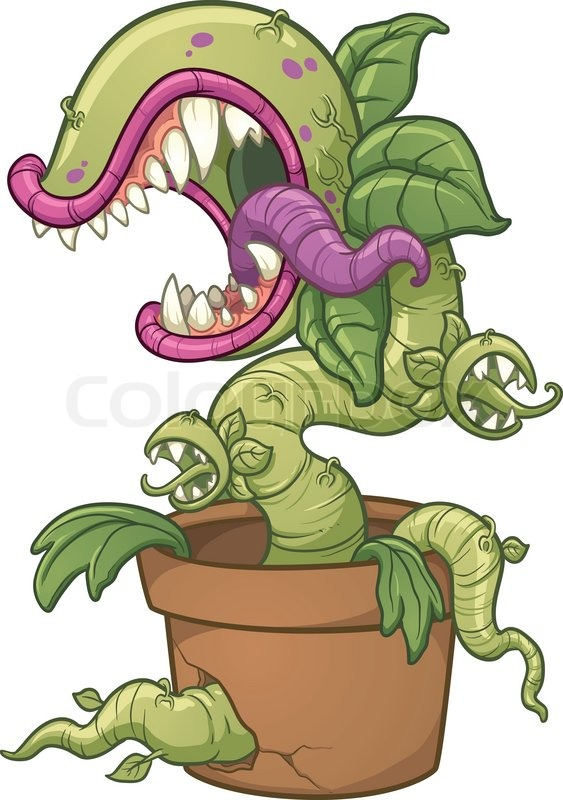Carnivorous plant vector clip art illustration with for Plante carnivore