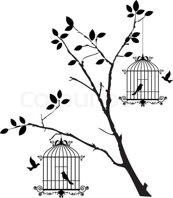 Vector Illustration Of Tree Silhouette With Birds Flying