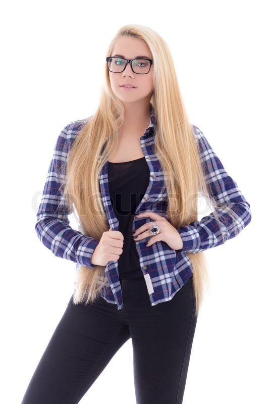 attraktive teenager m dchen in brillen mit sch nen langen. Black Bedroom Furniture Sets. Home Design Ideas