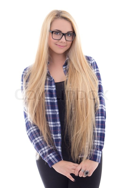 Cute Girl In Eyeglasses With Beautiful Long Hair Isolated