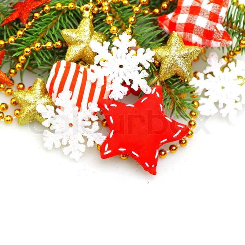 Christmas background with green fir, red star, gold ...